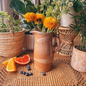 Vintage Ceramic Clay Pitcher Brown Glaze Vase